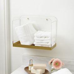 5 Ways To Use Acrylic Decor Throughout Your House // Bathroom - A gold bottom on this acrylic wall bin gives it an elegant look while still keeping it simple and stylish. Decor, Acrylic Decor, Interior, Home Decor, Acrylic Shelf, Acrylic Storage, Toilet Accessories, Bathroom Decor, Bathroom Accessories