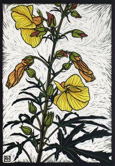 Witzig's Wild Hibiscus Hand coloured linocut on handmade Japanese paper. Rachel Newling.