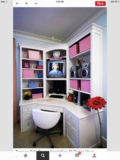 My little office area! Flat screen instead