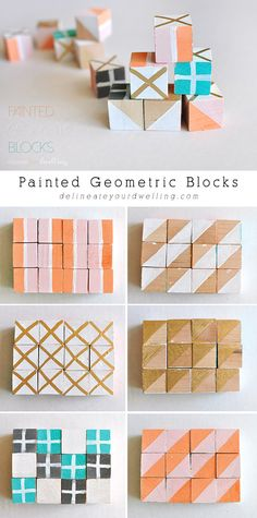 Painted Geometric Blocks, Delineateyourdwelling.com