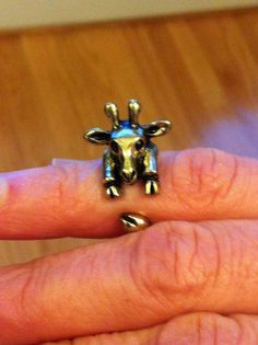 Giraffe wrap animal hug ring gold tone adjustable #SunshineJewelry #Wrap