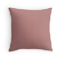 'Vintage New England Shaker Dark Barn Red Milk Paint Gingham Check Plaid' Throw Pillow by oldshaker Plaid Throw Pillows, Down Pillows, Bed Pillows, Aesthetic Design, Red Barns, Gingham Check, Milk Paint, French Country Decorating, New England