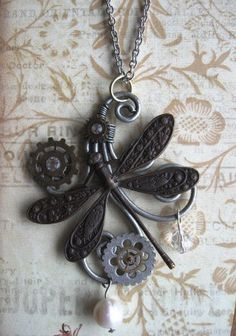steampunk necklace Dragonfly Scroll by CrystalTime on Etsy, $25.00
