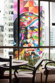View of some awesome mural art on a building through the windows of another building- (Artist: Eduardo Kobra) Kobra Street Art, Street Art Graffiti, Amazing Street Art, Amazing Art, Pablo Picasso, Cincinnati, Monet, Urbane Kunst, Canvases