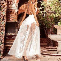 White Maxi Dress Sexy Bodysuit Dress See Through Sleeveless Backless Floor Length Dress Sexy Maxi Dress, White Maxi Dresses, Simple Dresses, Sexy Dresses, Dress Prom, Off Shoulder Evening Dress, Bodysuit Dress, Evening Dresses Online, Vogue
