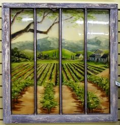 This is a painting of a winery that is painted on  glass window panes in frame very unique piece. Price: $240.00 http://www.theguildshop.org/window-frame-pane-art