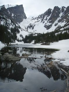 Dream Lake in June! Look at all the snow.