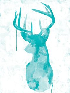 YOU DECOR Oh Deer Canvas Art Aqua