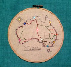 A Fabric Australia Map in an embroidery hoop, to sew or colour your travels.