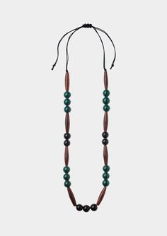 GLASS AND WOOD NECKLACE   TOAST