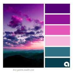Color palette Color Inspiration Palettes of life. Love of color. Hues of feelings. Colors are everyw Purple Color Schemes, Purple Color Palettes, Colour Pallette, Color Palate, Color Combos, Sunset Color Palette, Purple Palette, Good Color Combinations, Pantone