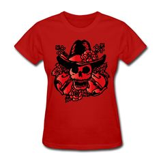 Skull Women's T-Shirt Red Women's T-Shirt | SnapMade.com ($20) ❤ liked on Polyvore featuring tops, t-shirts, ribbed shirt, relax t shirt, skull print t shirt, red shirt and tee-shirt