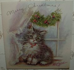 M. Cooper - Sweet Christmas Kitten, Cat - 1946 Vintage RUST CRAFT Greeting Card