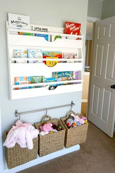 Organize all of baby's favorite bedtime books with this great DIY storage solution made from a repurposed shelf. Store all of your little one's stuffed animals and toys in hanging baskets to keep everything off of the floor!