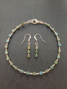 Dyed, square hematite beads and silver bracelet and earrings