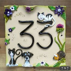 House number sign address number plaque Ceramic Green and Purple Flowers with Pets Pottery Houses, Ceramic Houses, Clay Projects, Clay Crafts, Ceramic House Numbers, Door Plaques, Ceramic Owl, Tropical Decor, Stoneware Clay