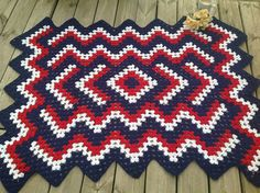"width=""600"" Red white and blue afghan"