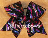 Rainbow Holographic Sequin Cheer Bow