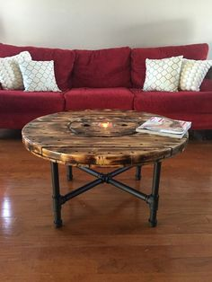 Wooden spool coffee table