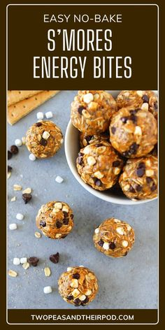S'mores Energy Bites are high protein balls packed with oats, crushed graham crackers, chia seeds, peanut butter, honey, vanilla, mini chocolate chips, and marshmallow bits. These no-bake chewy energy balls are ready in just 10 minutes. Save this quick and easy kid-friendly recipe! Protein Bites, High Protein, Chocolate Chip Recipes, Chocolate Chips, Fun Easy Recipes, Easy Meals, Healthy Recipes, Marshmallow Bits, Peanut Butter Energy Bites