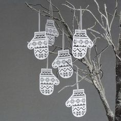 Set Of Six Papercut Mitten Christmas Tree Decorations
