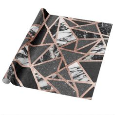 Shop Modern Rose Gold Glitter Marble Geometric Triangle Wrapping Paper created by BlackStrawberry_Co. Rose Gold Marble, Black And White Marble, Rose Gold Glitter, Black Glitter, Glitter Boots, Rose Gold Room Decor, Rose Gold Rooms, Rose Gold Kitchen Accessories, Glitter Bedroom