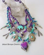 Schaef Designs vintage treasures charm necklace with amethyst, rare sugilite, sterling silver, turquoise, bear, turquoise crosses, native amercian feather concho charms | Schaef Designs artisan handcrafted Southwestern, Native American & Equine Jewelry | Online upscale southwestern equine jewelry boutique gallery | San Diego CA
