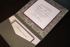 Luxury pocketfolder wedding invitation, gray damask and purple (listing is deposit amount). $50.00, via Etsy.