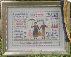 Mary Poppins Sampler Cross Stitch Chart di ShamrockCrossStitch, €13.50