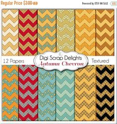 50% OFF TODAY Autumn Chevron Digital Papers for Digital Scrapbooking, Fall Card Making, Crafts, Web Design Linen Textured, Instant Download
