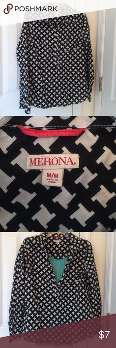 Black and white button up shirt Versatile shirts with buttons on front, only 3/4 of the way down. Wear over a bright shirt or under a sweater! Merona Tops Button Down Shirts