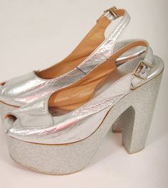 Vintage 70s PLATFORM Shoes Silver GLITTER Peep by LotusvintageNY, $150.00