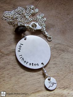"The Silver And Black Onyx ""LOVE LIBERATES"" Affirmation Necklace"