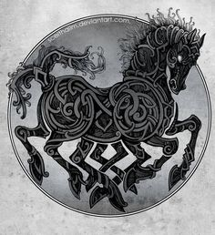 I wish my knot work was as organic as the stuff in this picture of Sleipnir by SceithAilm