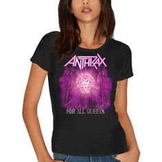 Tricou dama Anthrax: For All Queens (Skinny Fit) Metalhead, Skinny Fit, Large Black, Short Sleeves, Lady, Fitness, Queens, Cotton, T Shirt