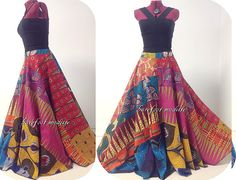 Long Vibrant Full Circle African Maxi Skirt by BarefootModiste