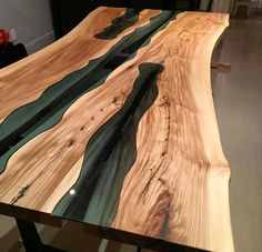"""By far one of our more challenging builds! This inspired """"River Table"""" was built using American elm and ford blue… Woodworking Projects Diy, Woodworking Bench, Wood Projects, Wood Resin Table, Slab Table, Resin Furniture, Furniture Design, Wood Table Design, Into The Woods"""