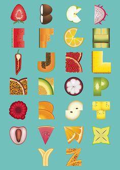 Fruity Alphabet by Florent Chau, via Behance Food Alphabet, Alphabet Design, Alphabet Art, Animal Alphabet, Calligraphy Alphabet, Alphabet And Numbers, Letter Art, Calligraphy Fonts, Script Fonts