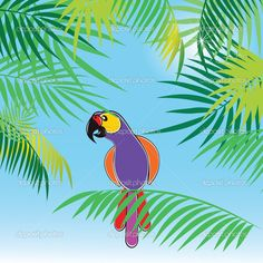 Tropical vector background with leaves of palm trees and parrot ...