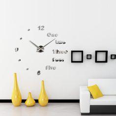 anself conjunto de diy reloj de pared extrable adhesivo de dgitos simples del efecto de espejo