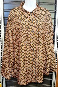 Mossimo Womens XL Button Down Shirt Top Sharp Gold Geometric Designer  Business  Mossimo  ButtonDownShirt e2f6fc825