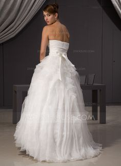 Ball-Gown Sweetheart Sweep Train Organza Satin Wedding Dress With Bow(s) Cascading Ruffles (002014468)
