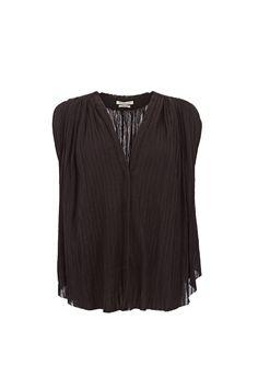 Tacey Embellished Plisse Cotton-Gauze Top at Iris