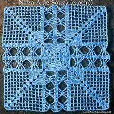 This Pin was discovered by d. Granny Square Crochet Pattern, Crochet Blocks, Crochet Diagram, Crochet Stitches Patterns, Crochet Squares, Thread Crochet, Filet Crochet, Crochet Motif, Crochet Doilies