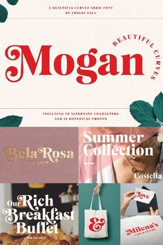 Mogan is an upper and lowercase serif font with nicely balanced curves. Like all of my fonts it is inspired by lettering from the good old past, but it still Cool Lettering, Cool Fonts, Fun Fonts, Modern Logo Design, Business Logo Design, Graphic Design, Chalkboard Fonts, Cursive Alphabet, Font Face