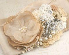 Sash Bridal Wedding Champagne Tan Beige Ivory Peach by SolBijou