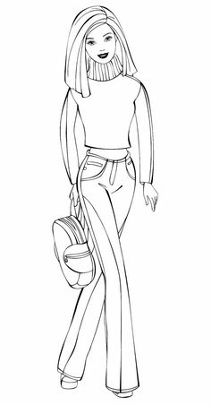 Barbie Painting, Barbie Drawing, Doll Drawing, Girl Drawing Sketches, Human Drawing, Barbie Coloring Pages, Disney Princess Coloring Pages, Disney Princess Colors, Cute Coloring Pages