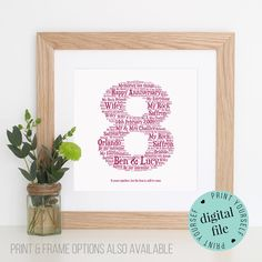 Personalised 8th Anniversary Gift Word Art Printable 8 Year Unique