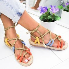 Summer Slippers Womens 2019 New Womens Casual Braided Fringe Flat with Lace Up Round Toe Sandal with Tassel Shoes