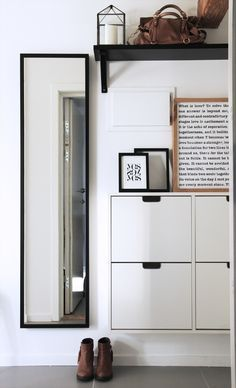 entryway & hall inspirations // Ikea STALL cabinet, black mirror